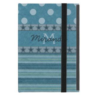 Girly Monogramm-Tupfen und Streifen im Blau iPad Mini Etuis