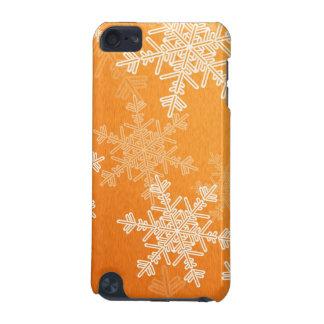 Girly orange und weißes Weihnachtsschneeflocken iPod Touch 5G Hülle