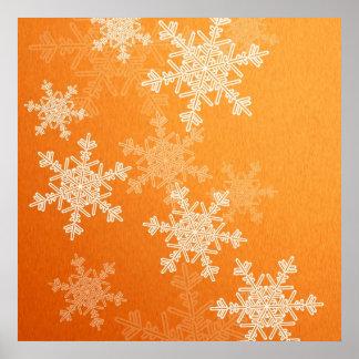 Girly orange und weißes Weihnachtsschneeflocken Poster