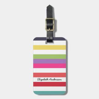 Girly Regenbogen-breite horizontale Streifen mit Gepäck Anhänger