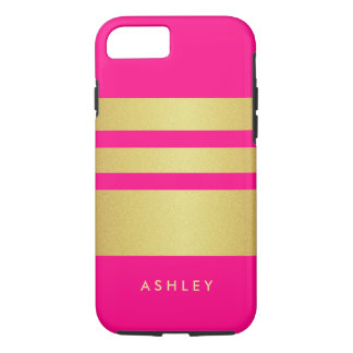 Girly reizend rosa GoldGlitter Stripes Muster iPhone 8/7 Hülle