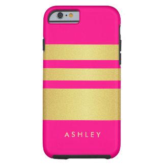 Girly reizend rosa GoldGlitter Stripes Muster Tough iPhone 6 Hülle