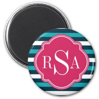Girly rosa blaues weißes gestreiftes runder magnet 5,7 cm