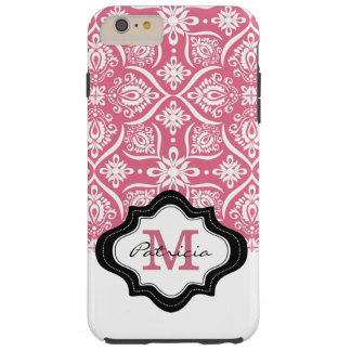 Girly rosa Damast-Muster-Monogramm-Name Tough iPhone 6 Plus Hülle