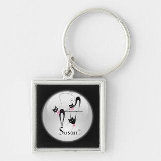 Girly Rosa der schwarzen Katze personifizieren Schlüsselanhänger