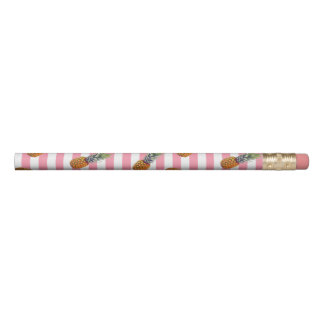 Girly Rosa des Sommer-Ananas-Muster-| Striped Bleistift