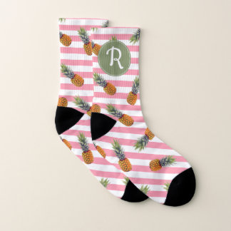 Girly Rosa des Sommer-Ananas-Muster-  Striped Socken