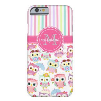 Girly rosa Eulen-niedliches Muster PersCustomize Barely There iPhone 6 Hülle