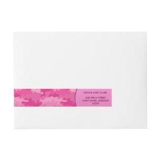 Girly rosa Farbart-Tarnungsmuster Rundum-Adressaufkleber