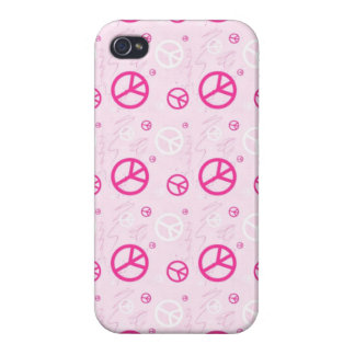 Girly rosa Friedenszeichen iPhone 4/4S Cover