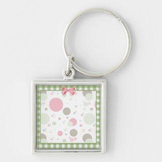 Girly rosa Gingham-Muster kreist niedliche Silberfarbener Quadratischer Schlüsselanhänger