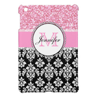 Girly, rosa, Glitter-schwarzer Damast personalisie iPad Mini Cover