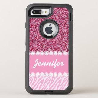 Girly, rosa Glitter, Zebra-Streifen, Ihr Name OtterBox Defender iPhone 8 Plus/7 Plus Hülle