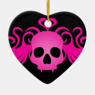 Girly rosa goth fanged Vampirsschädel auf Schwarze Weihnachtsbaum Ornament