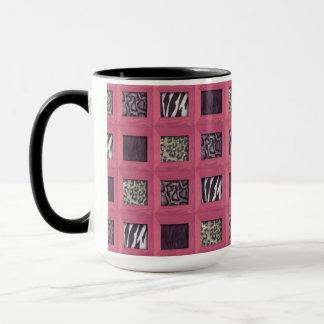 Girly rosa hölzerne gerahmte Tier-Drucke Tasse