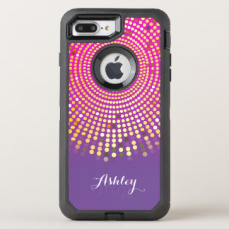 Girly rosa lila Ombre Fuchsien-Punkte OtterBox Defender iPhone 8 Plus/7 Plus Hülle