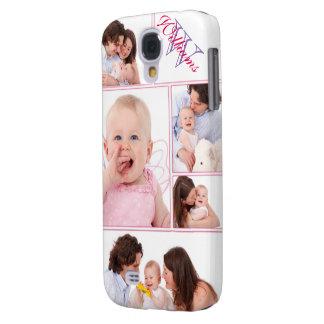 Girly rosa mit Monogramm 5 Foto-Collage Galaxy S4 Hülle