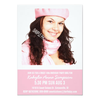 Girly rosa Party des Bonbon-16 mit Foto 11,4 X 15,9 Cm Einladungskarte