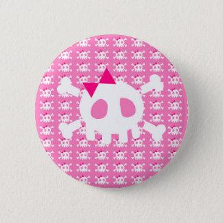 Girly rosa Punkschädel Runder Button 5,7 Cm