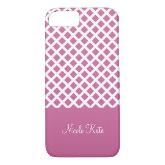 Girly rosa quadratisches Gitter Monogramm iPhone 8/7 Hülle