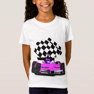 Girly rosa Rennwagen mit Zielflagge T-Shirt