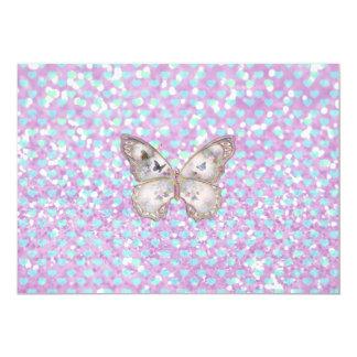 Girly rosa Schmetterlings-blaues 12,7 X 17,8 Cm Einladungskarte