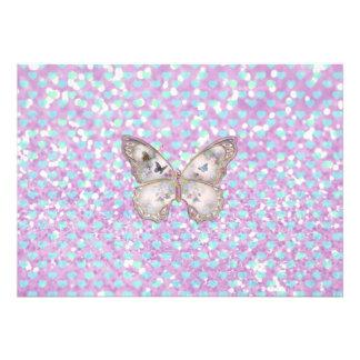 Girly rosa Schmetterlings-blaues Ankündigung