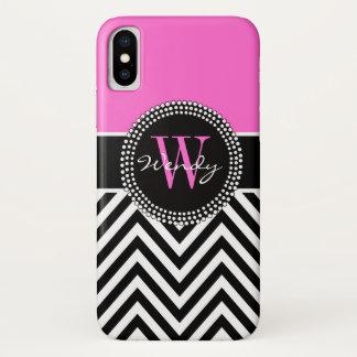 Girly rosa schwarzes Zickzack Monogramm elegant iPhone X Hülle