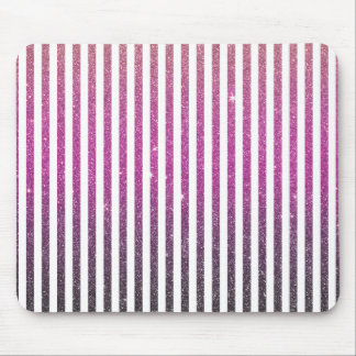 Girly rosa Steigungs-Streifen-Glitter-Foto-Druck Mousepad