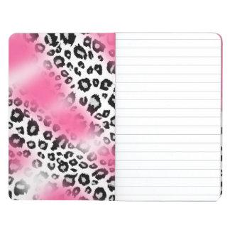 Girly Rosa-und Schnee-Leopard-Masche Taschennotizbuch