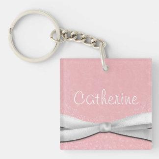 Girly rosa und weißes Band-Blumenmuster Einseitiger Quadratischer Acryl Schlüsselanhänger