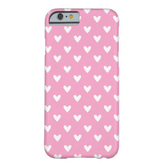 Girly rosa und weißes Herz-Muster Barely There iPhone 6 Hülle