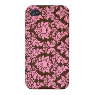 Girly rosa viktorianischer Damast iPhone 4 Cover