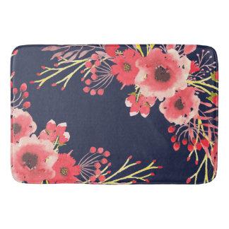 Girly rosa Watercolor-Blumen u. Marine-Blau Badematte