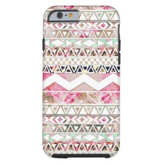 Girly rosa weißes abstraktes aztekisches mit tough iPhone 6 hülle