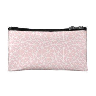 Girly rosa weißes geometrisches Streifen-Muster Makeup-Tasche