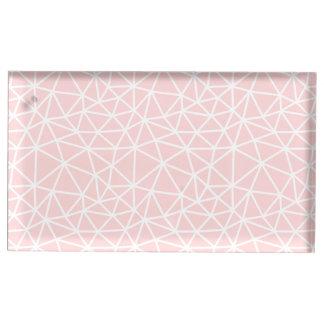 Girly rosa weißes geometrisches Streifen-Muster Platzkartenhalter