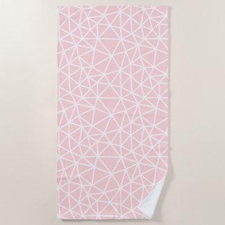 Girly rosa weißes geometrisches Streifen-Muster Strandtuch