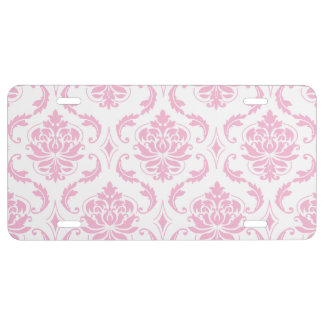 Girly rosa weißes Vintages Damast-Muster US Nummernschild