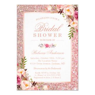 Girly Rosen-GoldGlitter-Rosa-BlumenBrautparty 12,7 X 17,8 Cm Einladungskarte