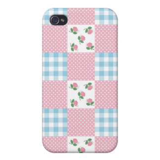 Girly Rosen und Gingham iPhone 4 Case