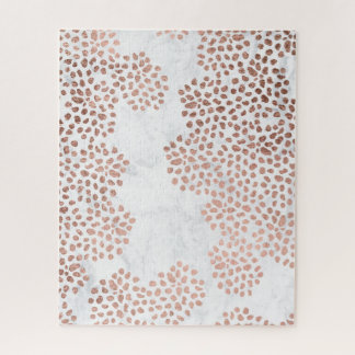 Girly Rosengoldabstrakter Polkapunkt-Weißmarmor Puzzle