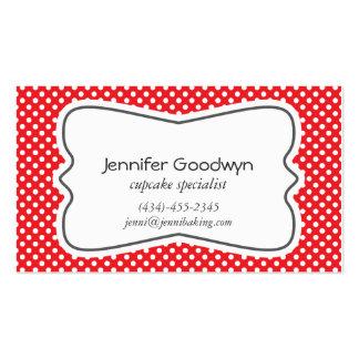 Girly rote weiße Tupfen-Visitenkarte Visitenkarten