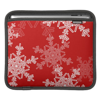 Girly rotes und weißes Weihnachtsschneeflocken iPad Sleeve