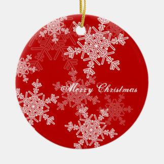 Girly rotes und weißes Weihnachtsschneeflocken Keramik Ornament