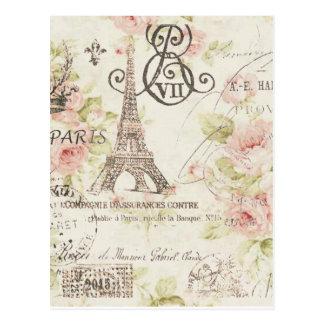 girly schicker romantischer Blumenparis-Eiffelturm Postkarte