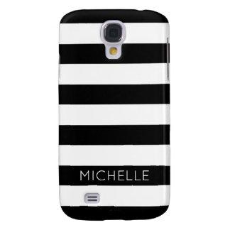 Girly Schwarz-weißes Streifen-Name-Monogramm Galaxy S4 Hülle