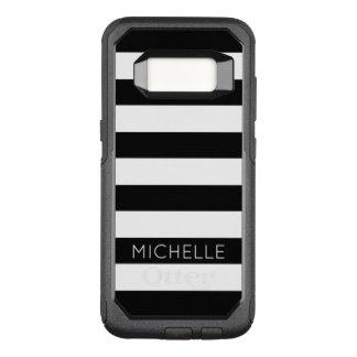 Girly Schwarz-weißes Streifen-Name-Monogramm OtterBox Commuter Samsung Galaxy S8 Hülle