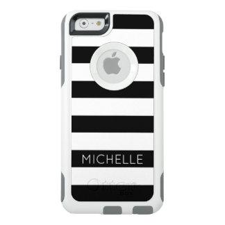 Girly Schwarz-weißes Streifen-Name-Monogramm OtterBox iPhone 6/6s Hülle