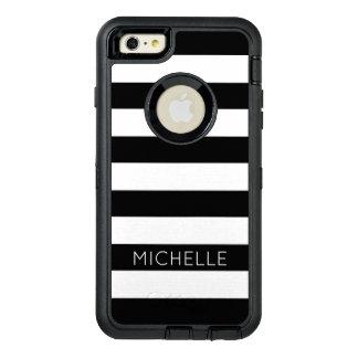 Girly Schwarz-weißes Streifen-Name-Monogramm OtterBox iPhone 6/6s Plus Hülle